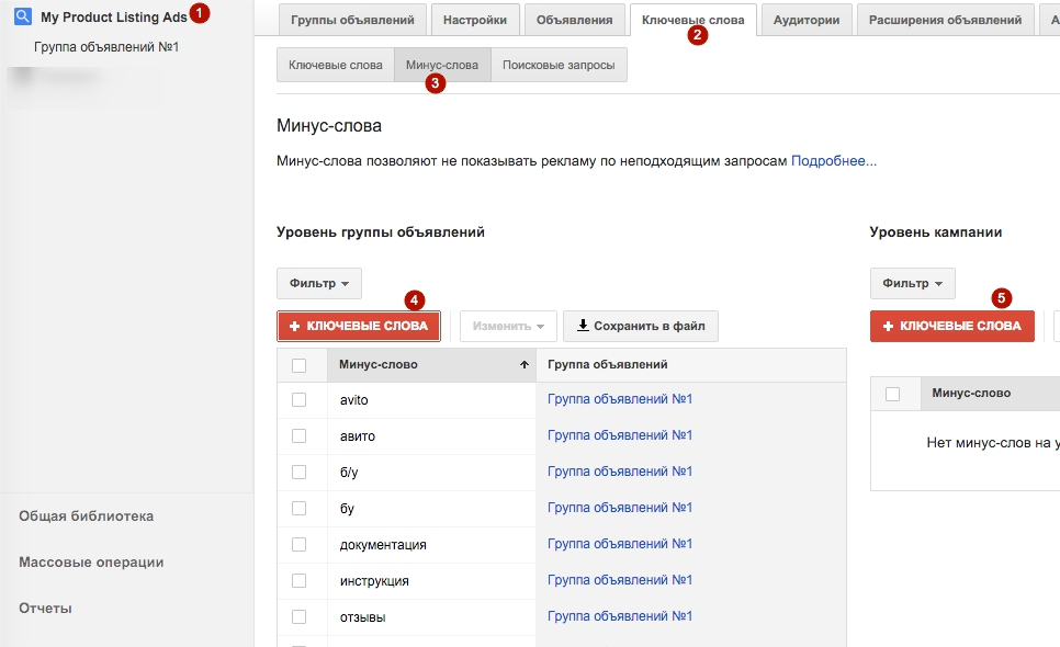 Добавление минус слов в google adwords комплекс фостис входит реклама продвижение товара обеспечение связи общественностью фос